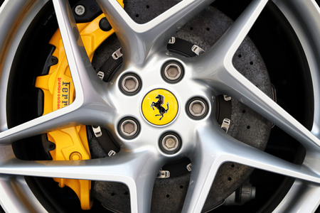 MODENA, ITALY, May 2019 - Motor Valley Fest exhibition, Ferrari wheel detail Archivio Fotografico - 124582483
