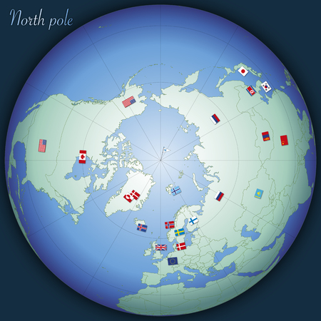 North pole global map with country flags, vector illustration Archivio Fotografico - 124603658