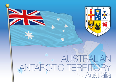 Australian Antarctic Territory flag, South Pole, Australia, vector illustration Archivio Fotografico - 124603661