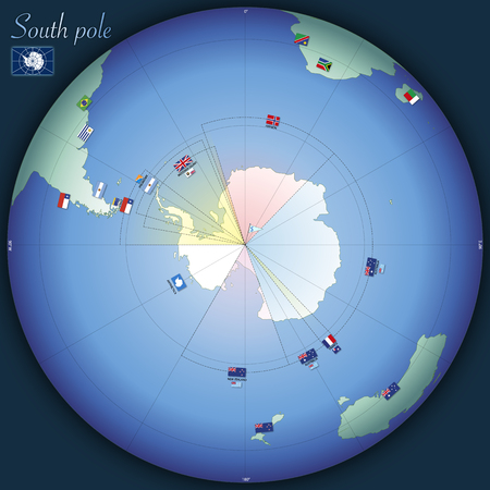South pole global map with country flags, vector illustration Standard-Bild - 124603672