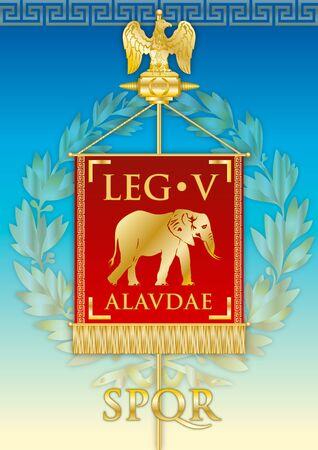 Legio V Alaudae, ancient teaches banner legion of the Roman empire, vector illustration Archivio Fotografico - 124603689