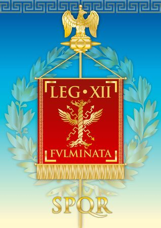 Legio XII Fulminata, ancient teaches banner legion of the Roman empire, vector illustration Archivio Fotografico - 125201471