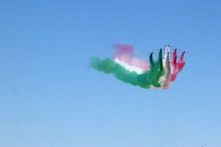 MODENA, ITALY, June 21, 2019 - Frecce Tricolori evolutions in the sky Archivio Fotografico - 125990572