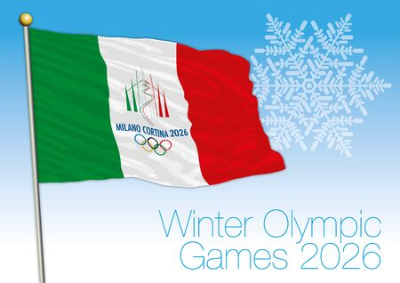 Winter Olympic Games 2026 flag, Milan and Cortina, Italy Archivio Fotografico - 125990615