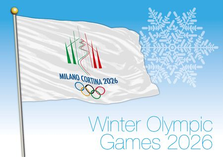 Winter Olympic Games 2026 flag, Milan and Cortina, Italy