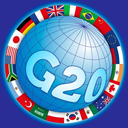 G20 global summit of industrialized countries, global symbol with flags, vector illustration Çizim