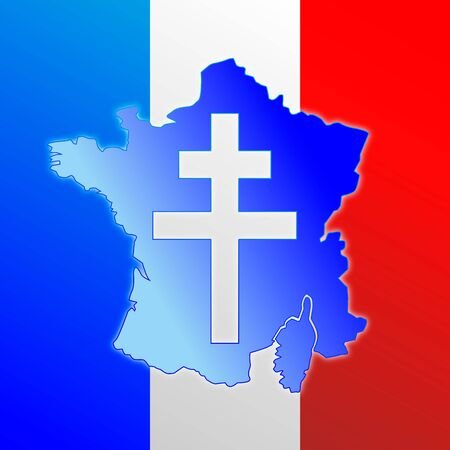 Lorraine cross, symbol of France, map and flag, vector illustration