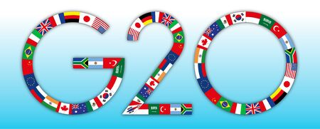 G20 global summit of industrialized countries, flags of all countries, vector illustration Archivio Fotografico - 126021429