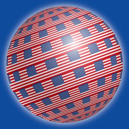 United States flags on the spherical globe, illustration, USA Archivio Fotografico - 126388509