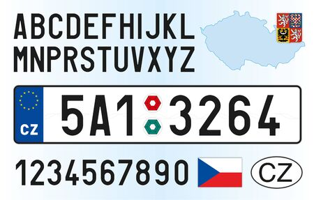 Czech Republic car license plate, letters, numbers and symbols, vector illusttration, European Union 矢量图像