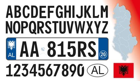 Albania car license plate, letters, numbers and symbols, vector illusttration