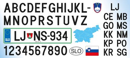 Slovenia car license plate, letters, numbers and symbols, vector illustration, European Union