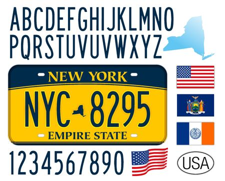 New York State car license plate, letters, numbers and symbols, USA, United States