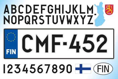 Finland car license plate, letters, numbers and symbols, vector illustration, European Union