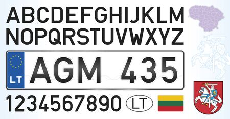 Lithuania license plate, letters, numbers and symbols, vector illustration, European Union Stockfoto - 128379501