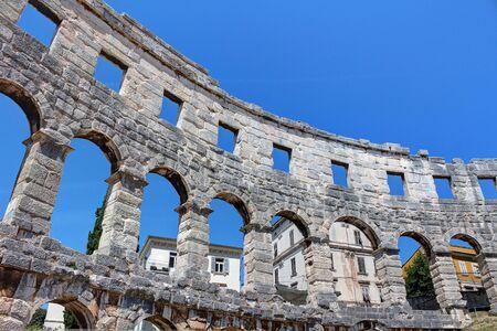 Pula, amphitheater, ancient Roman city, Istria, Croatia, touristic place