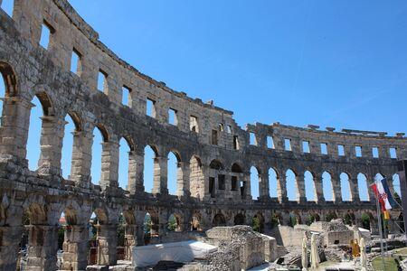Pula, amphitheater, ancient Roman city, Istria, Croatia, touristic place Archivio Fotografico - 128379775