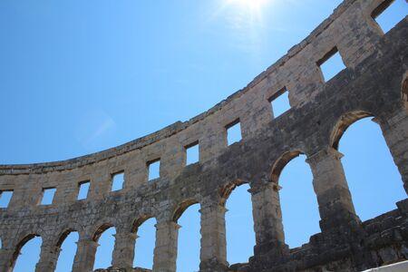Pula, amphitheater, ancient Roman city, Istria, Croatia, touristic place Archivio Fotografico - 128379770