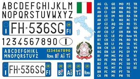Italy, car license plate, letters, numbers and symbols, vector illustration, European Union Stockfoto - 128527225