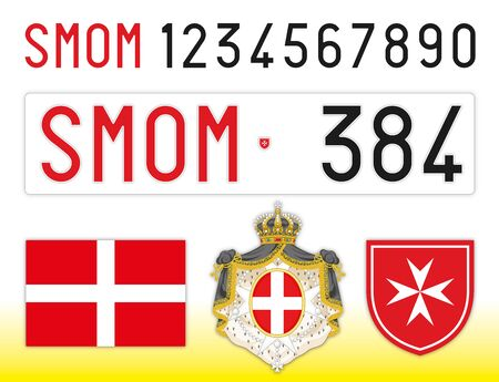 SMOM Sovereign Military Order of Malta license plate, letters, numbers and symbols 스톡 콘텐츠 - 128527224