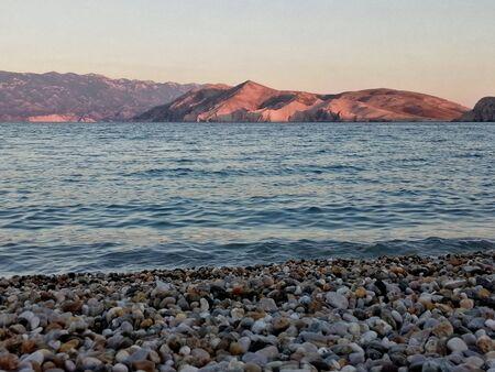 Krk island, Croatia, touristic place of Dalmatia, Baska beach Archivio Fotografico - 128527299
