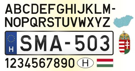 Hungary car license plate, letters, numbers and symbols, vector illustration, European Union