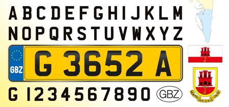 Gibraltar car license plate, letters, numbers and symbols, Europe Archivio Fotografico - 128810923