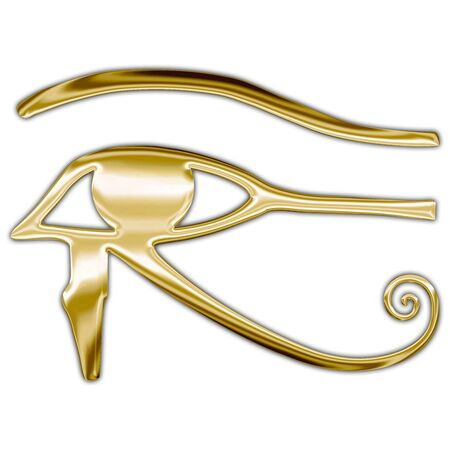 Horus egyptian symbol, metallic style Archivio Fotografico - 128810922