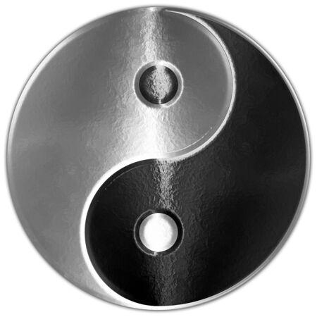 Yin Yang oriental symbol metallic style, graphic elaboration Archivio Fotografico - 128810918