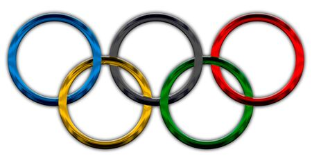 Olympic rings symbol, metallic style 新聞圖片