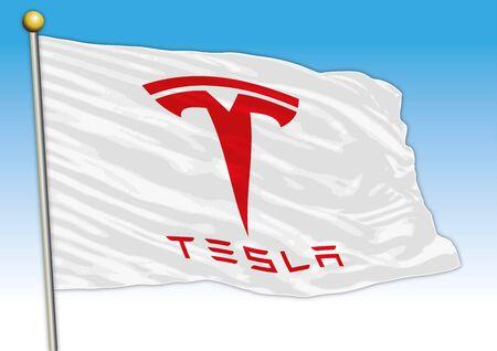 Tesla international car industrial group, flag with logo, illustration Archivio Fotografico - 128989111
