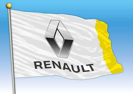 Renault international car industrial group, flag with logo, illustration Archivio Fotografico - 128989112