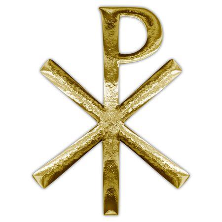 Chi Rho christianity cross gold symbol Archivio Fotografico - 129008206