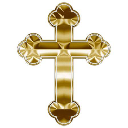 Orthodox Christianity cross gold symbol Archivio Fotografico - 129008205