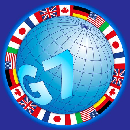 G7 global summit of industrialized countries, global symbol with flags, vector illustration