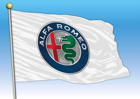 Alfa Romeo international car industrial group, flag with logo, illustration Archivio Fotografico - 128989124