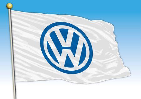 Volkswagen international car industrial group, flag with logo, illustration Archivio Fotografico - 128989126
