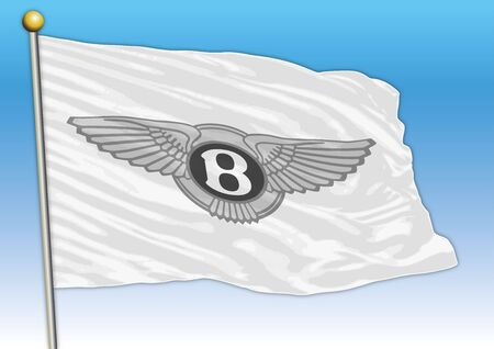 Bentley international car industrial group, flag with logo, illustration Archivio Fotografico - 128989130