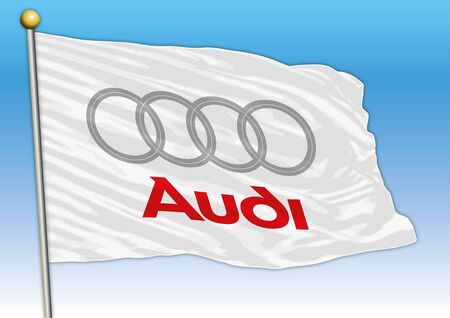 Audi international car industrial group, flag with logo, illustration Archivio Fotografico - 128989131