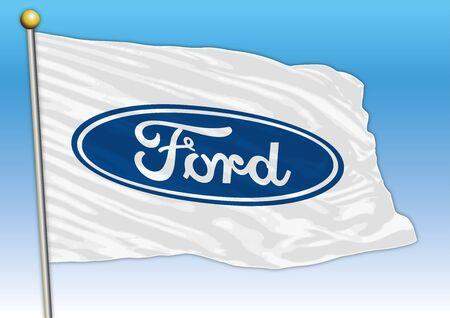 Ford international car industrial group, flag with logo, illustration Archivio Fotografico - 128989129