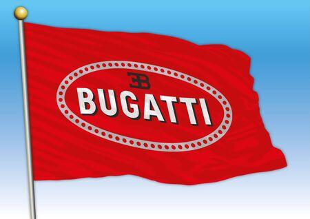Bugatti international car industrial group, flag with logo, illustration Archivio Fotografico - 128989132