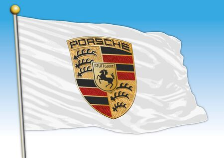 Porsche international car industrial group, flag with logo, illustration Archivio Fotografico - 128989150