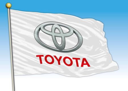Toyota international car industrial group, flag with logo, illustration Archivio Fotografico - 128989148