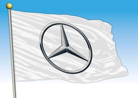 Mercedes Benz car industrial group, flag with logo, illustration Archivio Fotografico - 129183324