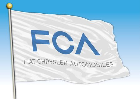 FCA Fiat Chrysler car industrial group, flag with logo, illustration Archivio Fotografico - 129183326