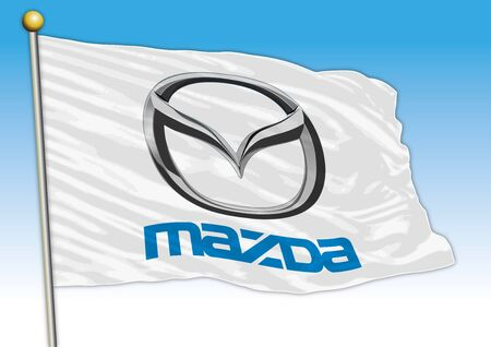 Mazda car industrial group, flag with logo, illustration Archivio Fotografico - 129183327