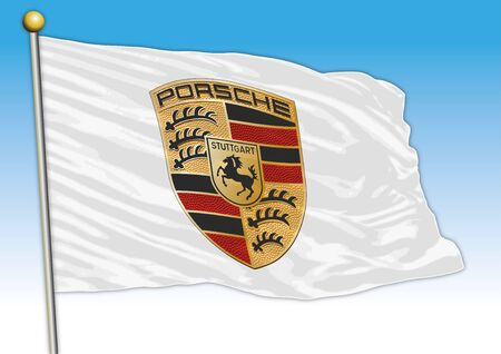 Porsche car industrial group, flag with logo, illustration Archivio Fotografico - 129183330