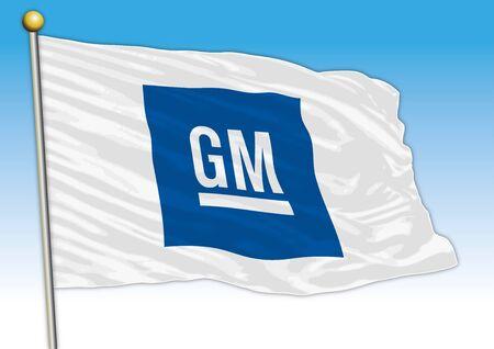 General Motors car industrial group, flag with logo, illustration Archivio Fotografico - 129183331
