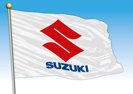 Suzuki car and motorcycles industrial group, flag with logo, illustration Archivio Fotografico - 129183329