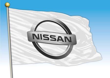 Nissan car industrial group, flag with logo, illustration Archivio Fotografico - 129183335